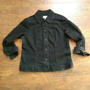 Chico's Black Denim Jacket with Glitter Size 1